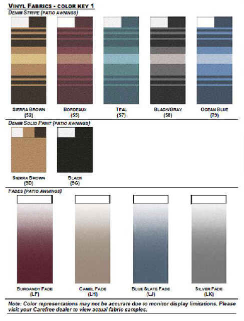 Fabric Colors Mobile Rv Awnings Sales Parts Service