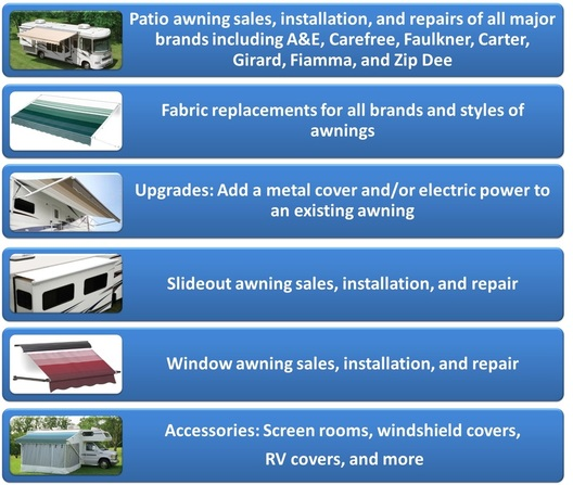 We Have An Extensive Background In Selling Servicing And Installing All Major Brands Of RV Awnings Including AE Dometic Carefree Carter Faulkner
